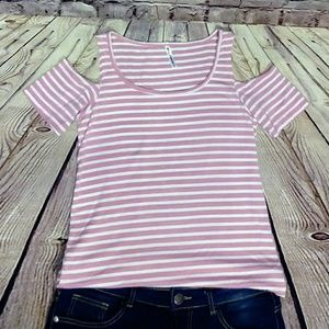 Tops - *NEW Pink/White stripped shoulder-less t-shirt
